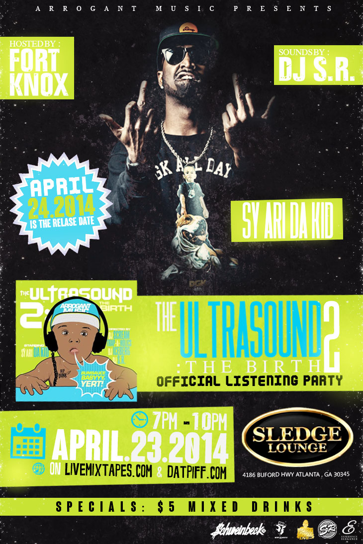 4 23 sy ari da kid listening party at sledge lounge for Tattoo shops in buford ga