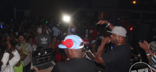 Funkmaster Flex and Greg Nice rocking the James Evans ATL party at 595 North