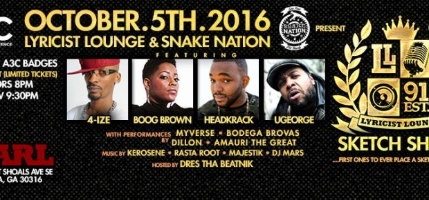 A3C Lyricist Lounge edition at The Earl Oct 5th